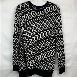 Ann Taylor chunky black white side zip sweater
